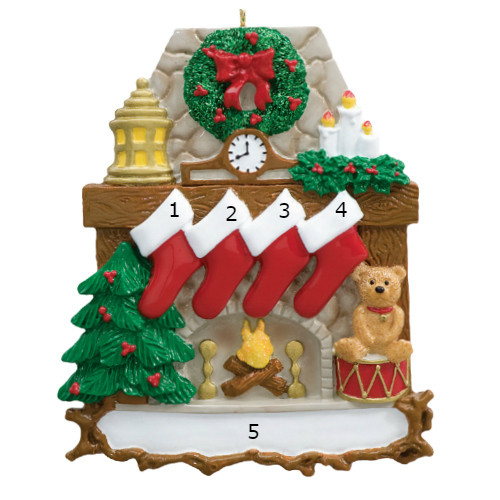 Free Personalization* Fireplace with 4 Red Stockings and Teddy Bear Ornament