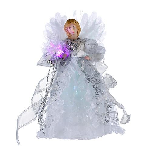 Kurt Adler 12-Inch Fiber Optic White and Silver Tree Topper