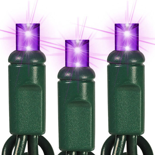 25 FT - PURPLE STRING LIGHTS - LED 5MM WIDE ANGLE (50 LEDS) -  ON GREEN WIRE