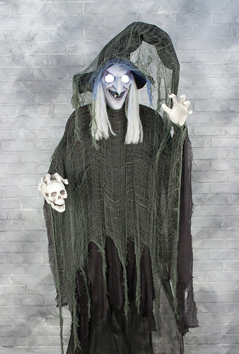 Halloween Animated Witch with Glowing Eyes and Cackling Noises