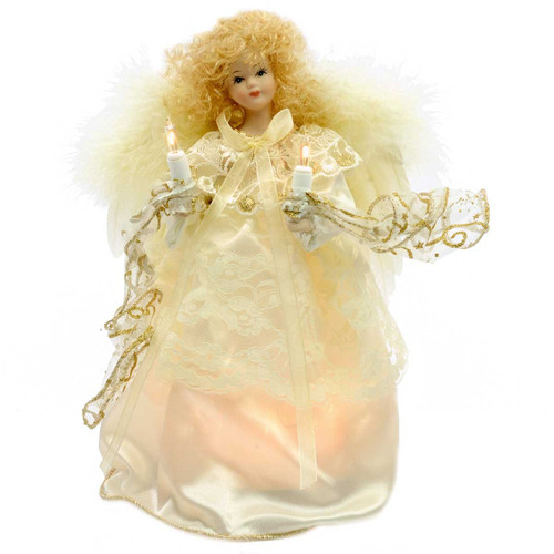 Ivory and Gold Angel Christmas Tree Topper with Feather Wings