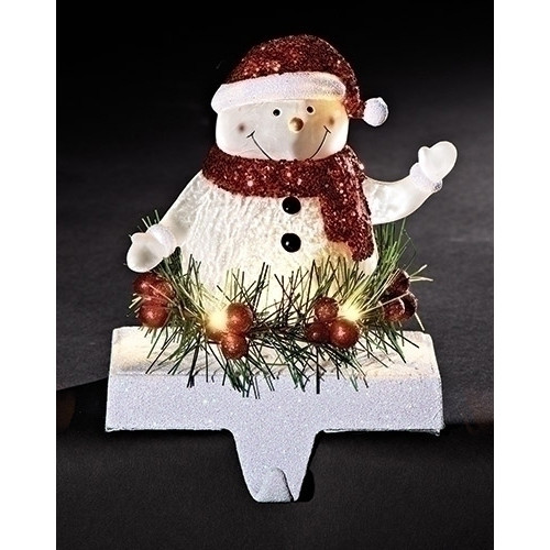 Jolly Snowman LIGHTED LED CHRISTMAS STOCKING HOLDER