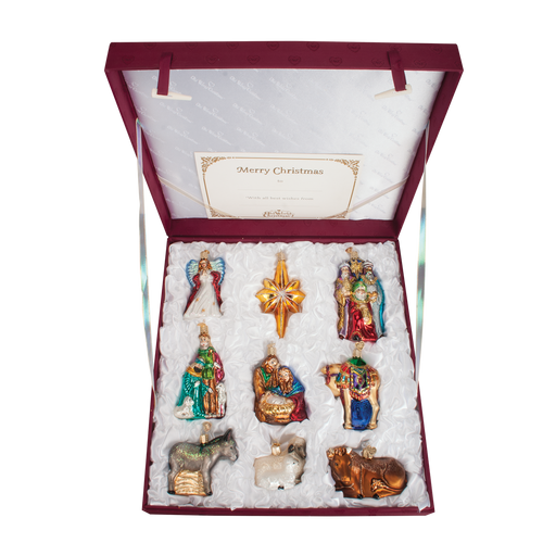 Old World Christmas Glass  - 9 Pc. Ornament Nativity Boxed Set