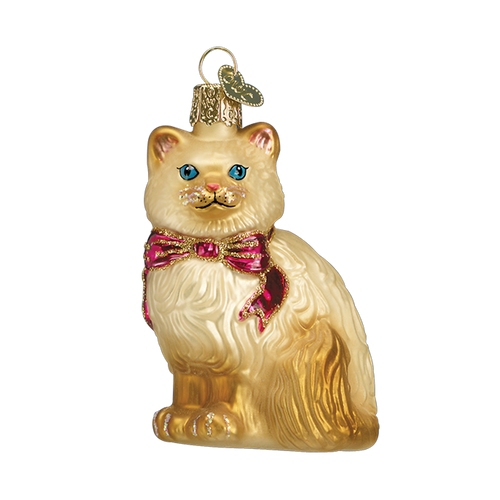 Old World Glass - Tan Himalayan Kitty Ornament