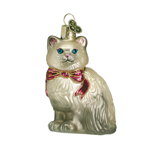 Old World Glass - Grey Himalayan Kitty Ornament