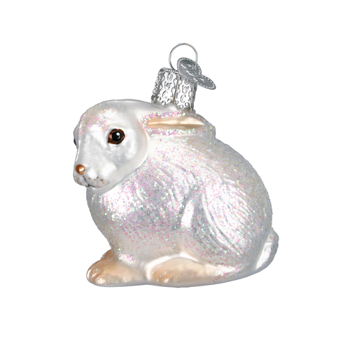 Old World Glass - White Cottontail Bunny Ornament