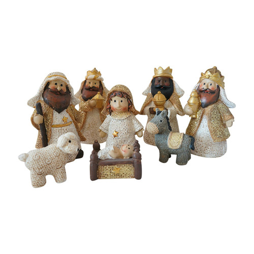 Ivory and Gold Glittered Burlap Baby Christmas Set of 8 Nativity Scene
