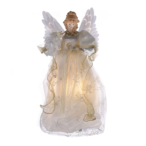 kurt adler 14 inch fiber optic ivory and gold animated angel tree topper the christmas loft - Christmas Tree Topper Angel