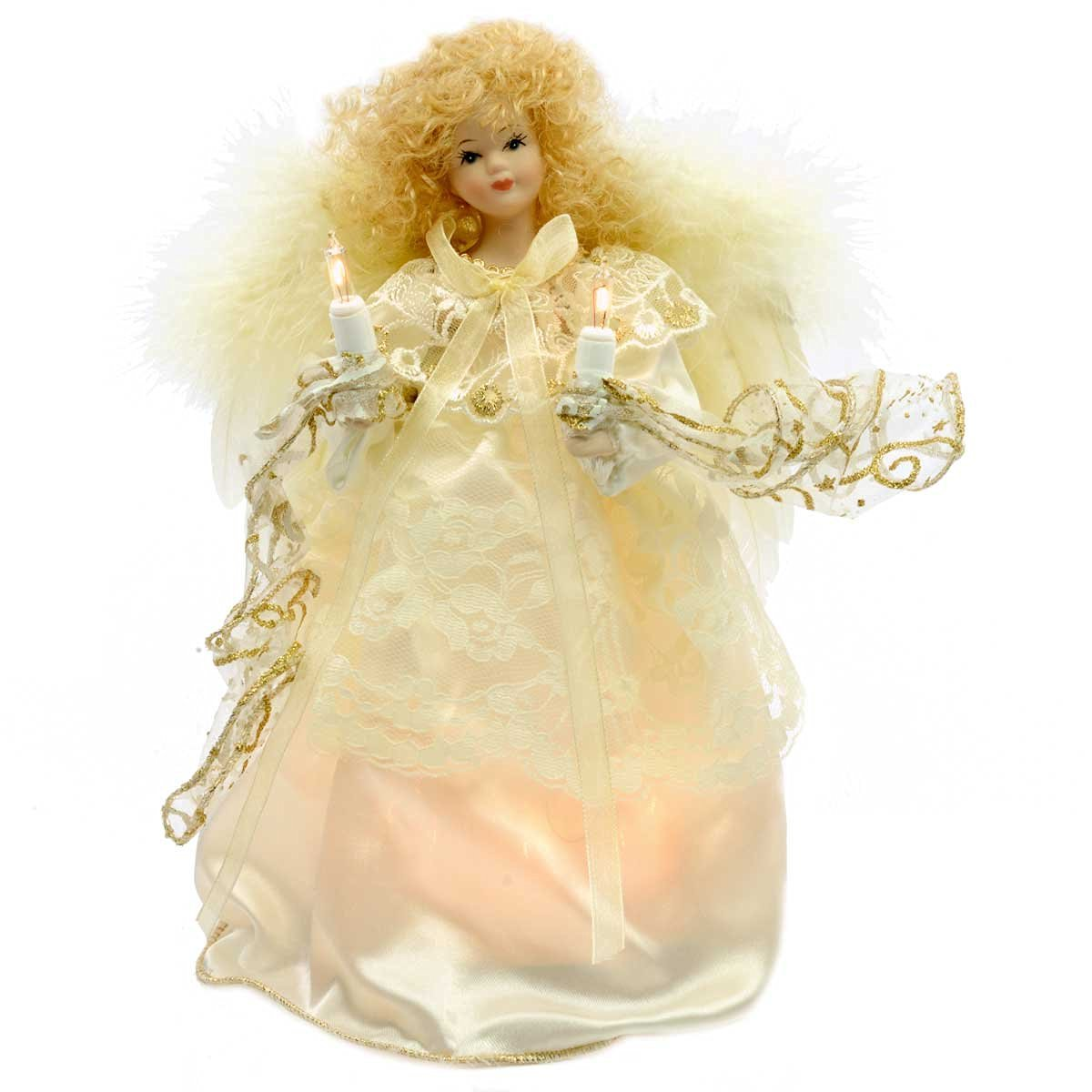 ivory and gold angel christmas tree topper with feather wings - Christmas Tree Topper Angel