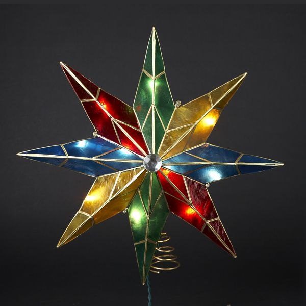 14 inch lighted 5 point capiz multicolor star christmas tree topper - Star Christmas Tree Topper
