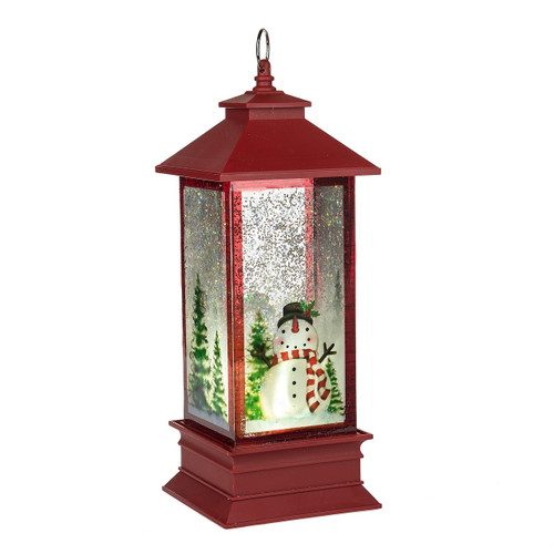 Lighted Holographic Two Snowman Carolers Christmas Outdoor: LED Snowman Lantern Shimmer
