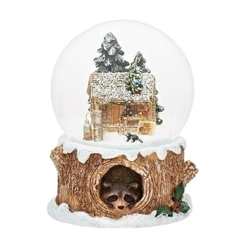 24 Musical Lighted Caroler Family Christmas Table Top: Cabin Raccoon Snow Globe