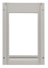 Small Size Aluminum Inside Frame With Slots For Slide. Designed For Door With Round Logo With Rivets On Metal Bar On Vinyl Flap.