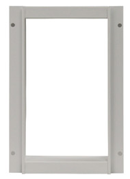 Small Size Aluminum Outside Frame. Designed For Door With Round Logo With Rivets On Metal Bar On Vinyl Flap.