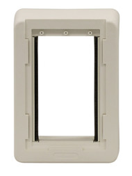 Small Size Plastic Outside Frame With Out Holes. Designed For Door With Double Vinyl Flaps Without Side Clips.