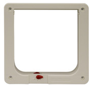 Small Size Cat Flap Plastic Inside Frame With Red Dial For Lock Adjustments For A Fast-Fit Patio Door, Aluminum Modular Patio Door or Aluminum Sash Window Door. For Cat Flap Door Insert Only.