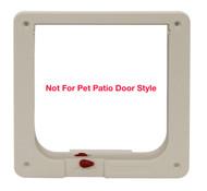 Small Size Cat Flap Plastic Inside Frame With Red Dial For Lock Adjustments For A Fast-Fit Patio Door, Aluminum Modular Patio Door or Aluminum Sash Window Door. For Cat Flap Door Insert Only.