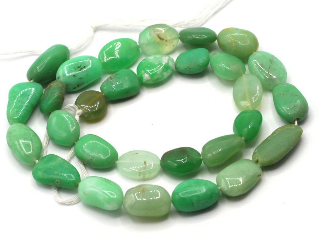 "14"" Strand 10-16mm Chrysoprase Oval Nugget Beads"
