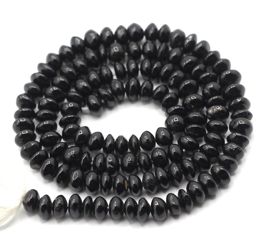 "14"" Strand Approx 5mm Black Tourmaline Rondelle Beads"