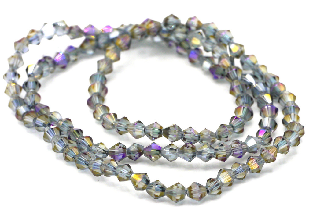 100+pc 4mm Crystal Bicone Beads, Slate Peacock Iris