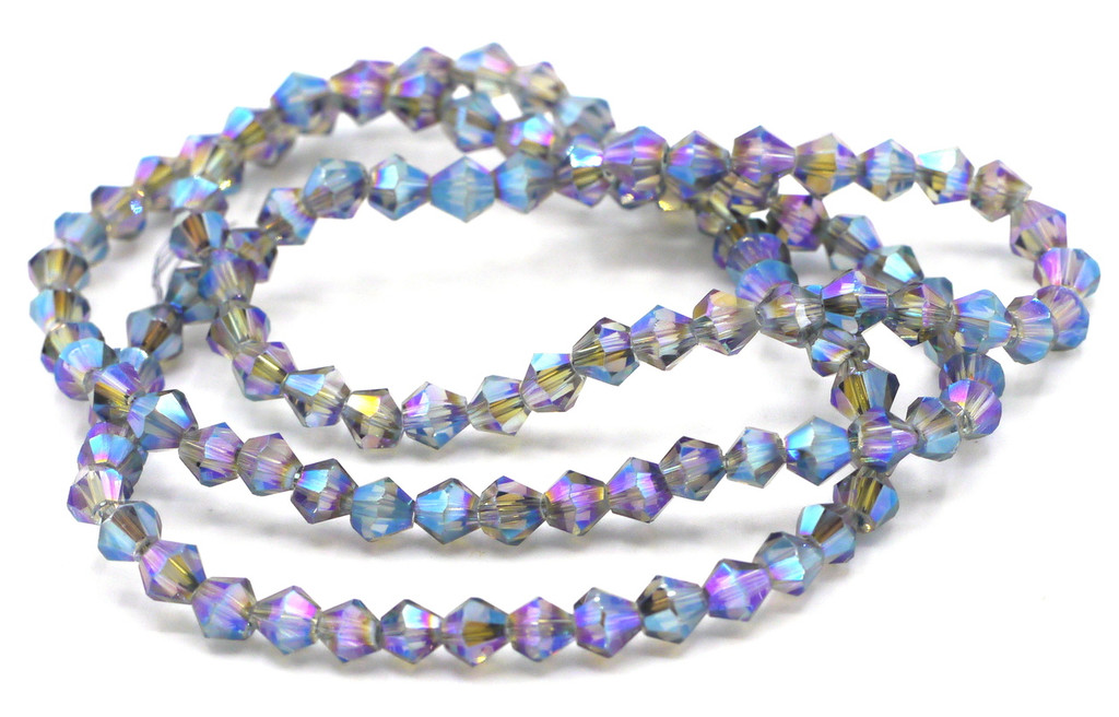 100+pc 4mm Crystal Bicone Beads, Blue-Green Rainbow Iris