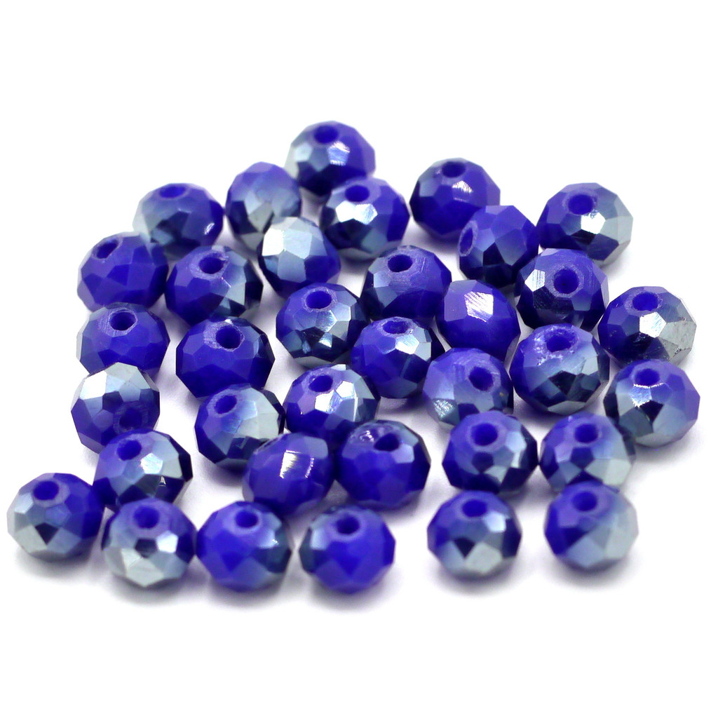 36pc 6x4mm Crystal Rondelle Beads, Opaque Sapphire & Silver
