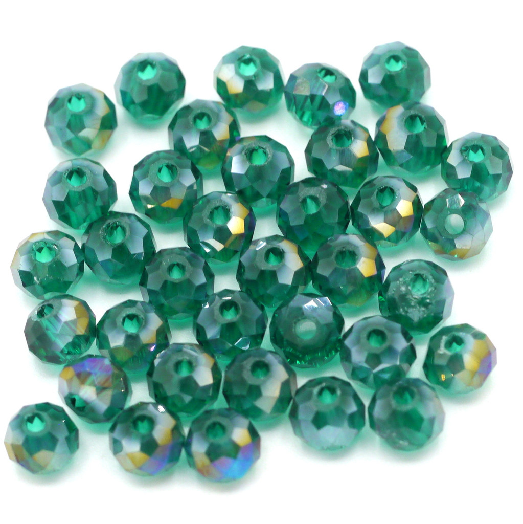 36pc 6x4mm Crystal Rondelle Beads, Teal AB