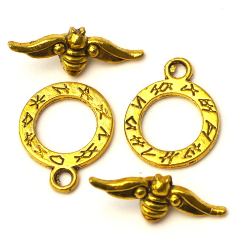 2 Sets 20x24mm Bumblebee Toggle Clasps, Antique Gold