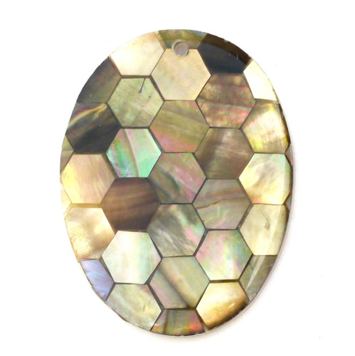 Approx 40mm Shell Mosaic Oval Pendant