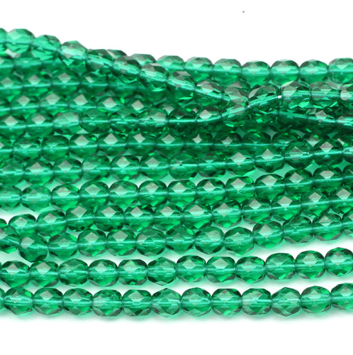 50pc 6mm Czech Fire Polished Round Beads, Emerald