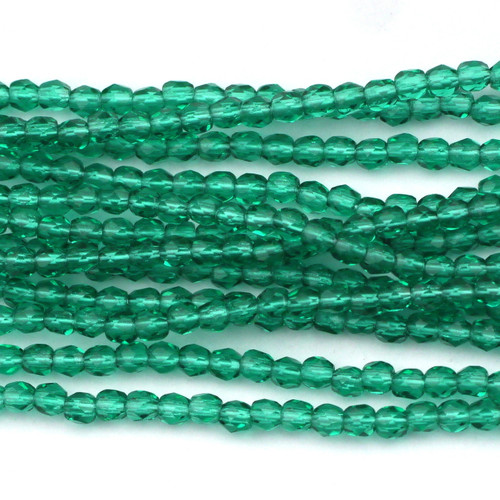 100pc 3mm Czech Fire Polished Round Beads, Emerald