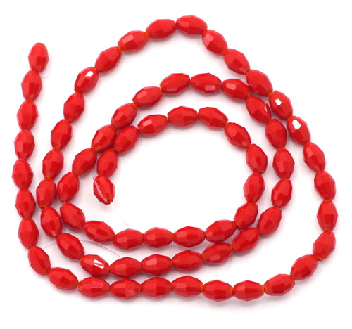 72pc Strand 4x6mm Crystal Oval Beads, Opaque Scarlet