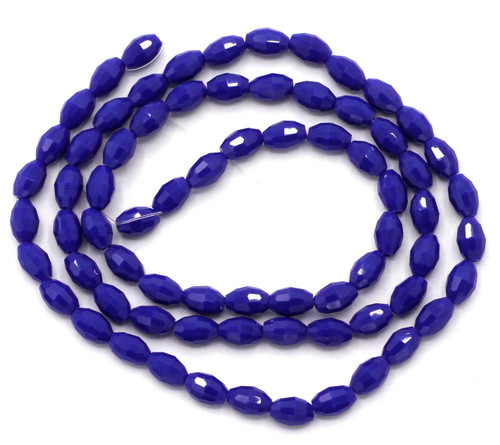 72pc Strand 4x6mm Crystal Oval Beads, Opaque Indigo