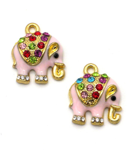 2pc 18mm Rhinestone & Enamel Elephant Charms, Goldtone