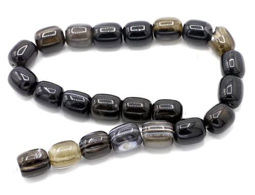 "15"" Strand 16x13mm Black Agate Drum Beads"
