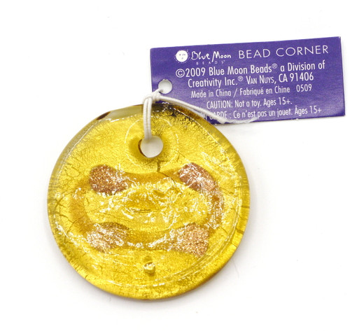 Approx 40mm Lampwork Glass Foil Disc Pendant, Amber Gold