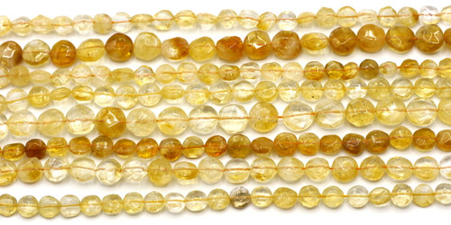 "RANDOM PICK-- 14"" Strand 7-12mm Citrine Faceted Coin Beads"