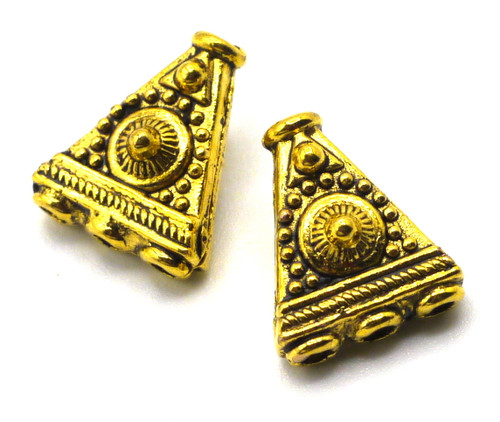 2pc 11x9mm 1-to-3-Hole Triangle End Caps, Antique Goldtone