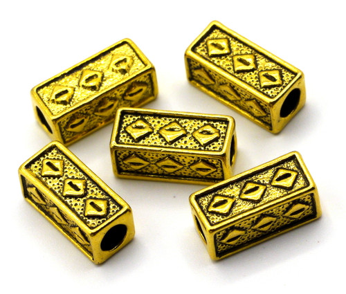 5pc 15x7mm Detailed Rectangle Beads, Antique Goldtone