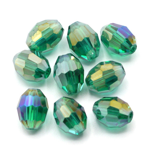 9pc 10x8mm Teal AB Crystal Oval Beads