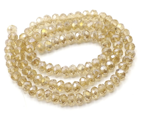 Approx 98pc 6x4mm Crystal Rondelle Beads, Light Peach AB