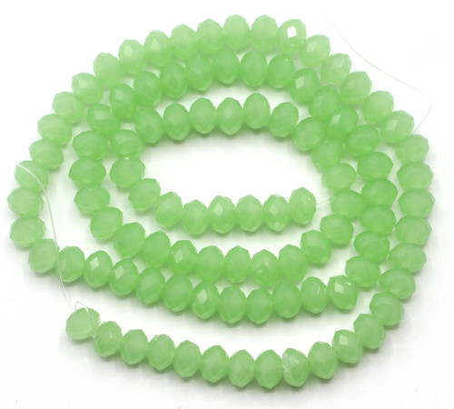 Approx 98pc Strand 6x4mm Crystal Rondelle Beads, Sea Green