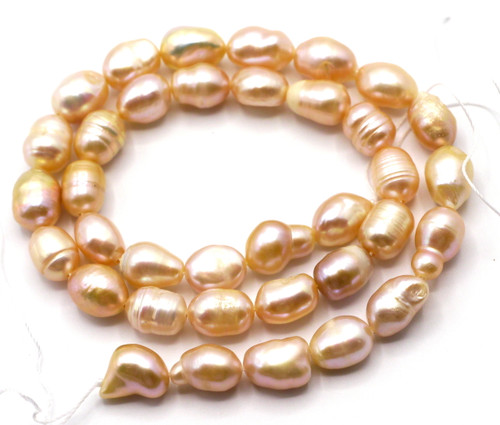 "13.5"" Strand Approx 10-12mm Freshwater Pearl Rice Beads, Peach"