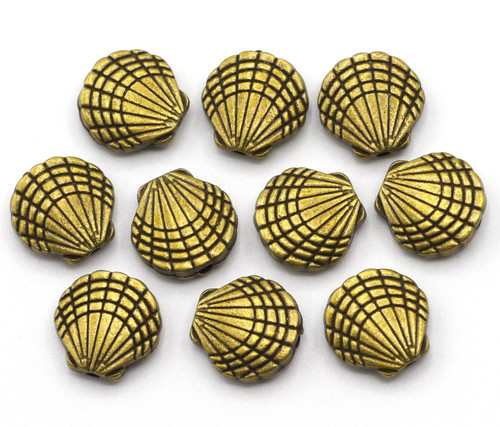 10pc 9.5mm Shell Beads, Antique Brass Finish