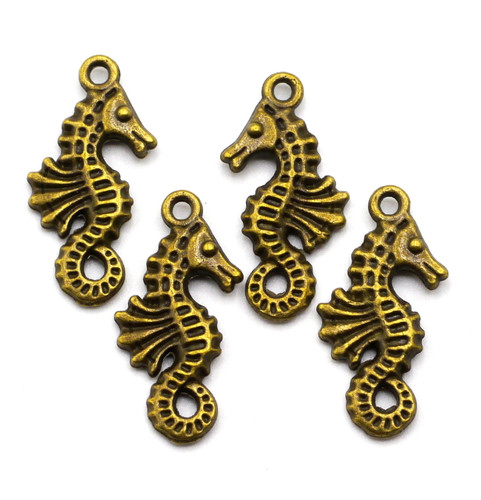 4pc 23mm Seahorse Charms, Antique Brass