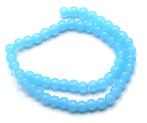 "11"" Strand 6mm Glass Round Beads, Blue Opal"