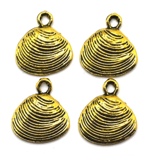 4pc 16mm Seashell Charms, Vintage Brass Finish