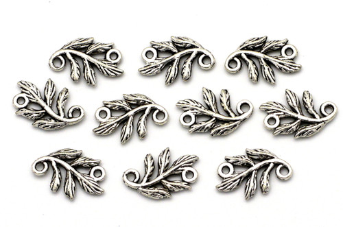 10pc 15x10mm Leafy Branch Links, Antique Silver