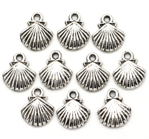 10pc 14mm Shell Charms, Antique Silver