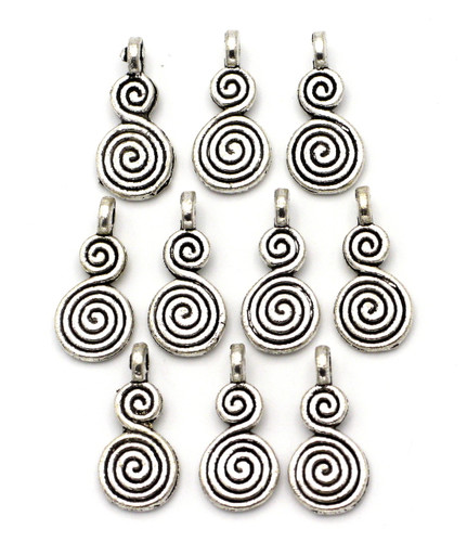 10pc 17mm Double Swirl Charms, Antique Silver